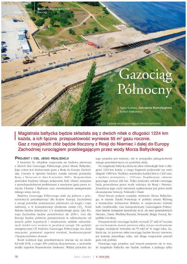 Gazociąg Północny. Inżynieria Bezwykopowa sierpień 2010 - zdjecie tytulowe
