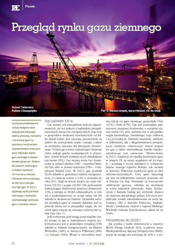 Przegląd rynku gazu ziemnego. Paliwa iEnergetyka sierpień 2013 - zdjecie tytulowe