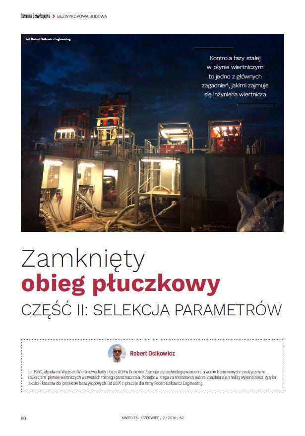 Zamknięty obieg płuczkowy cz.II - Selekcja parametrów. maj 2016 - zdjecie tytulowe