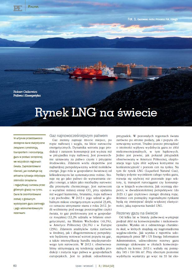 Przegląd rynku LNG. Paliwa iEnergetyka sierpień 2014 - zdjecia tytulowe