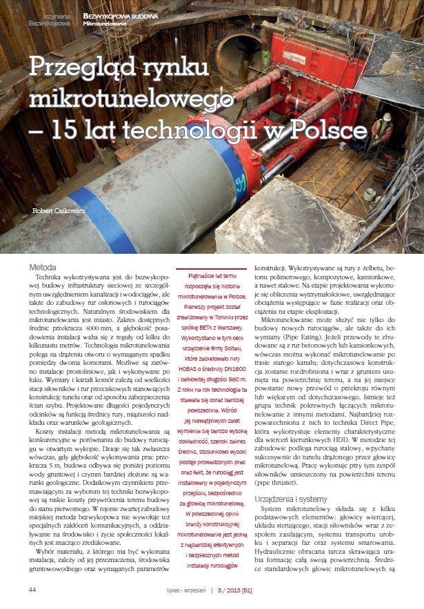 Przegląd rynku mikrotunelowego. Piętnaście lat technologii wPolsce. Inżynieria Bezwykopowa wrzesień 2013- zdjecie tytulowe