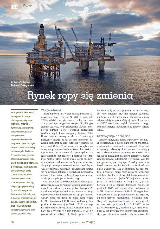 Rynek ropy 2014. Paliwa iEnergetyka grudzień 2014 - zdjecie tytulowe